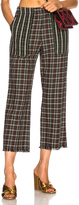 Raquel Allegra Cropped Pant in Black,Checkered & Plaid,Green,Red.