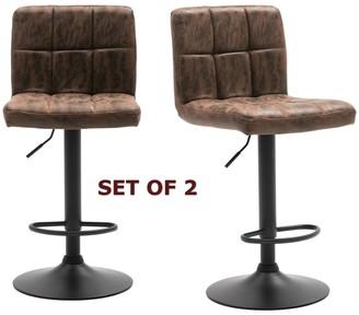 "Btexpert Adjustable Metal Upholstered Vintage Brown Barstool Chair Set of 2 Back - 25"" Seat Heght - 25"" Seat Heght"