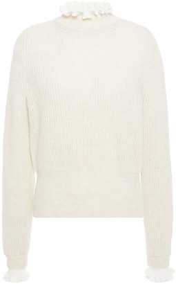 Sandro Mike Ruffle-trimmed Wool-blend Sweater