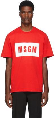MSGM Red Box Logo T-Shirt