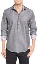 Bugatchi Men's Shaped Fit Textured Sport Shirt