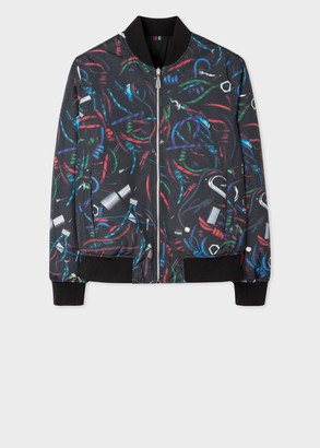 Men's 'Climbing Rope' Photo Print Reversible Bomber Jacket