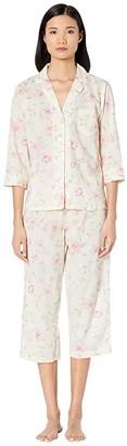 Lauren Ralph Lauren Cotton Rayon Lawn Woven 3/4 Sleeve Pointed Notch Collar Capri Pants Pajama Set (Multi Floral) Women's Pajama Sets