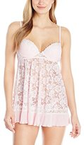 Cinema Etoile Women's Nikki Molded Cup Stretch Chiffon Babydoll with Lace Cups