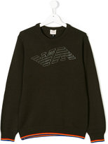 Armani Junior logo print knitted pullover