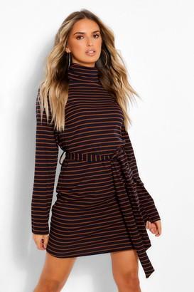 boohoo Stripe High Neck Belted Mini Bodycon Dress
