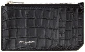 Saint Laurent Black and Silver Croc Fragment Card Holder