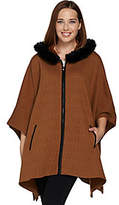 Dennis Basso Zip Front Knit Poncho with FauxFur Trim