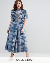 Asos Jumpsuit with Raw Edge Ruffle Detail in Blurred Check Print