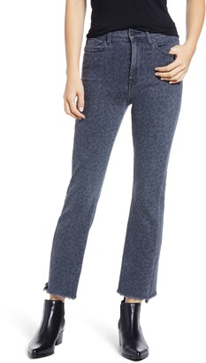 Seven London High Waist Fray Hem Slim Kick Jeans