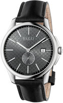 Gucci Men's Swiss Automatic G-Timeless Black Leather Strap Watch 40mm YA126319