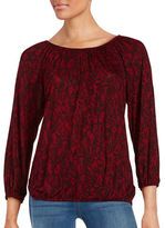 MICHAEL Michael Kors Lace-Print Long Sleeve Blouse