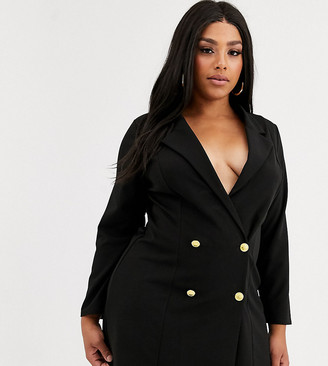 Asos DESIGN Curve glam double breasted jersey blazer-Black