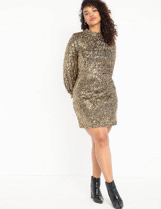ELOQUII Mock Neck Sequin Dress With Puff Sleeve