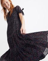 Madewell Tie-Sleeve Tiered Midi Dress in Fieldwalk Floral