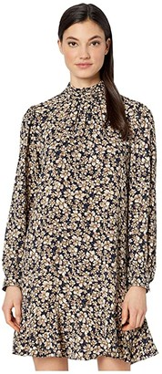 La Vie Rebecca Taylor Long Sleeve Giselle Dress (Navy/Citron) Women's Dress