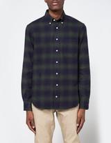 Gitman Brothers Indigo Based Flannel in Olive