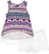 U.S. Polo Assn. Purple Geometric Fringe-Trim Top & White Denim Shorts - Girls