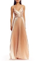 Nicole Miller Metallic Pleated Gown