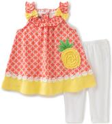 Kids Headquarters Orange Pineapple Tank & White Leggings - Infant Toddler & Girls