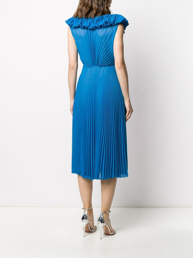 Thumbnail for your product : Marco De Vincenzo Silk Ruffle Pleated Midi Dress