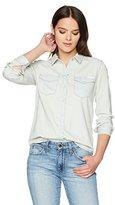 Calvin Klein Jeans Women's Long Sleeve Salt Wash Western Denim Shirt