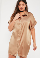 Missguided Plus Size Nude Satin Short Sleeve Shirt Dress