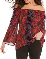 Figueroa & Flower Charlene Off-The-Shoulder Floral Print Velvet Inset Top