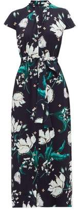 Erdem Finn Leighton Tulip-print Beaded Crystal Dress - Womens - Navy Multi