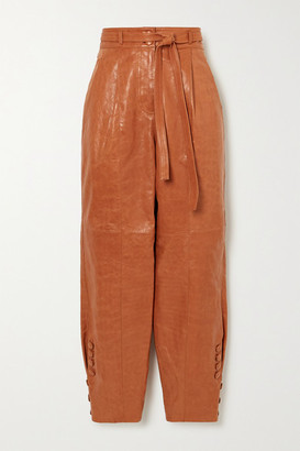 Ulla Johnson Navona Belted Leather Tapered Pants - Tan