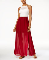 Amy Byer Juniors' Mixed-Media Illusion Maxi Dress