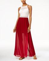 BCX Juniors' Mixed-Media Illusion Maxi Dress
