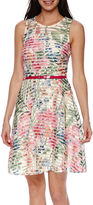 J Taylor Sleeveless Belted Print Fit-and-Flare Dress