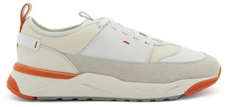 Santoni Panelled Leather And Suede Trainers - White Multi