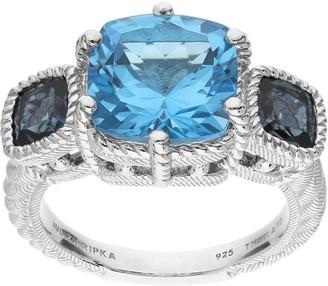 Judith Ripka Sterling 5.55 cttw Gemstone 3-Stone Ring
