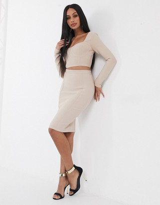 Band Of Stars bandage pencil skirt co-ord in biscuit