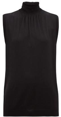 Prada Smocked High-neck Wool-jersey Sleeveless Top - Black