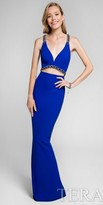 Terani Couture Illusion Chain Beaded Column Prom Dress