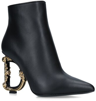 Dolce & Gabbana Leather Baroque Heel Ankle Boots 105