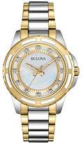 Bulova Diamond Women's Quartz Watch with Mother of Pearl Dial Analogue Display and Gold/Silver Ion-Plated Bracelet 98P140