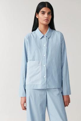 Cos Striped Pajama Shirt With Pocket