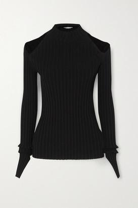Helmut Lang Cutout Ribbed-knit Top - Black