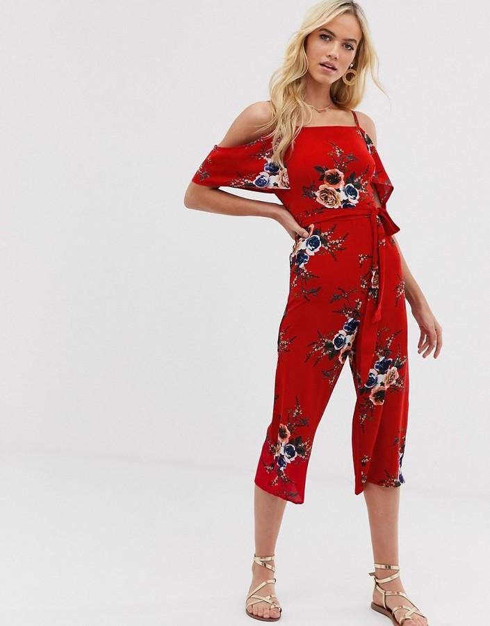 AX Paris floral cold shoulder jumpsuit