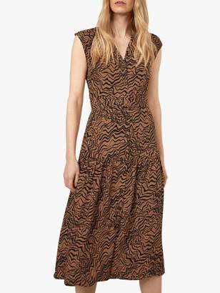 Warehouse Razorlight Print Sleeveless Midi Dress, Black/Brown