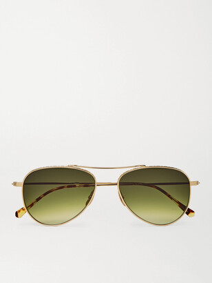 Mr. Leight Ichi S Aviator-Style Gold-Tone Sunglasses