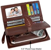 """UTO Women PU Leather Wallet 5.5"""" Phone Case Card Holder Organizer Zipper Coin Purse with Snap Closure 4"""