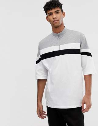 Asos Design DESIGN oversized t-shirt half sleeve and turtle zip neck with body color block-White