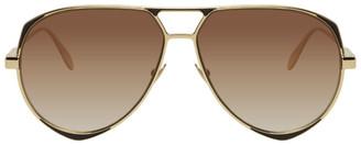 Alexander McQueen Gold Metal Aviator Sunglasses