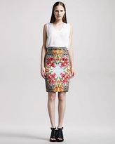 Iris-Print Pencil Skirt