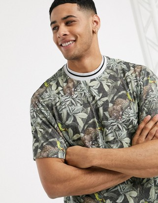ASOS DESIGN relaxed all over jaguar print t-shirt with contrast neck in linen look
